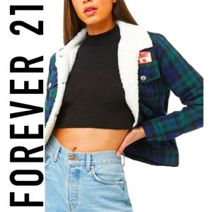 Forever 21 Sherpa Lined 'Angel Baby' Plaid Jacket